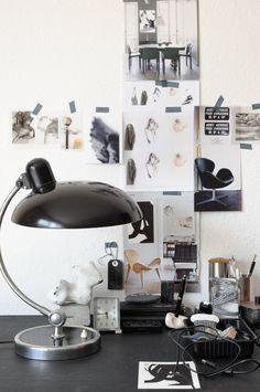 desk space, studio spaces, work areas, work space, offic, inspiration boards, lamp, llama, workspac