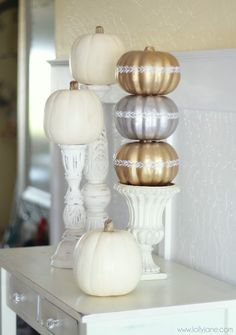DIY:: Shabby Chic pumpkin topiary from dollar store pumpkins!