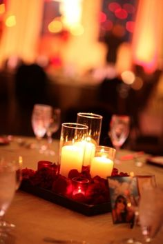 wedding centerpieces. Simple and inexpensive. #receptiondecor #centerpieces #lighting
