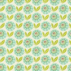 Mint Stella Fabric   Green Floral Fabric   Carousel Designs.  Mint Stella features fabulous shades of mint and turquoise. It's the perfect companion for our Mint Mockingbird fabric or use alone to create a one of a kind design. Made from soft 100% cotton.