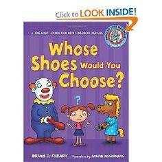 Whose Shoes Would You Choose?  This book would be good to use for consonant digraphs.  It presents many words with these parts in them, and the book is an easy enough read to not be tripped up by hard words in the process of learning about this aspect of phonics.