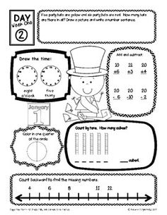 Daily Common Core {Happy New Year!} Math Practice First Grade
