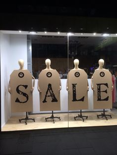 Simple and effective SALE display window for consignment, resale, thrift... or any shop! TGtbT.com also suggests if you sell home goods, prop S A L E signage on chairs in a row. Dining, kitchen, Hans Wegner...