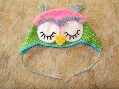 Baby Owl Earflap Hat. $12.50 #owl #hat #etsy #crochet