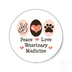 Peace Love Veterinary Medicine Stickers 20 Pk