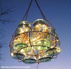 : Antique Blue Ball Jar Chandelier.