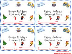 A Teacher's Treasure: Holiday Homework Pass & Students' Gifts