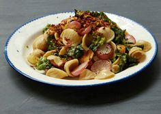 Whole Wheat Orecchiette with Bitter Greens and Radishes