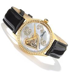 613-714 - Stührling Original Women's Audrey Love Story Edition Automatic Leather Strap Watch Gift Set
