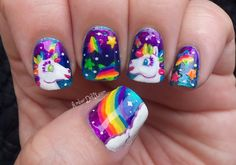 Lisa Frank! memori, poni, lisafrank, nail arts, rainbow nails, childhood, beauty blogs, unicorns, lisa frank