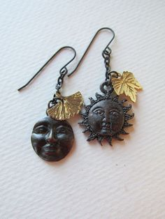Night and Day Earrings Sun and Moon Charm Leaves