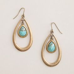 Gold and Turquoise Center Stone Teardrop Earrings | World Market