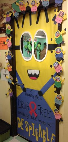 Adorable Red Ribbon Week Door Decor from a teacher friend of mine!!! So cute! #RedRibbonWeek #Minions