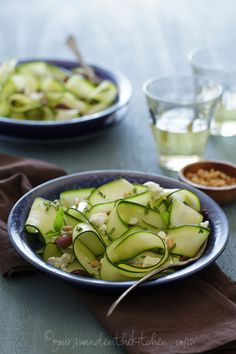 Raw Zucchini Ribbon Salad with Olives and Mint via @Sylvie   Gourmande in the Kitchen