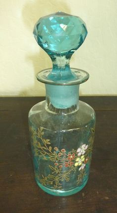 Tall Victorian blue enameled glass perfume bottle