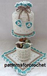 Free crochet pattern Toilet tissue cover and mat USA