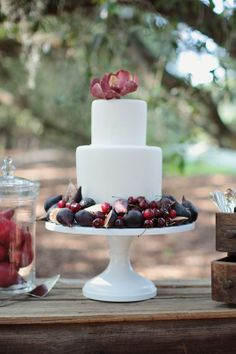 Wedding Cake Adorned with Fruit #weddingideas #fallweddings
