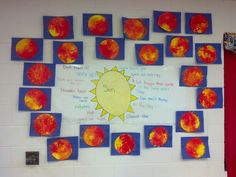Sun project. Matches kindergarten science standards on sun and heat. The kids loved making the suns!
