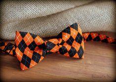 Boys Bow Tie - Orange and Black cotton diamond argyle print Halloween Bowtie, infant, toddler, and child sizes