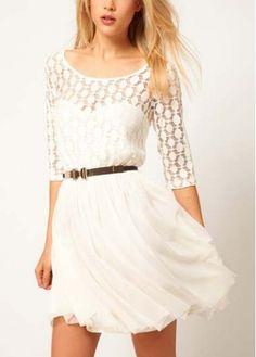 Ivory Half Sleeve Pleated Dress