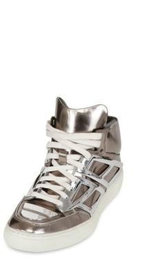 Alejandro Ingelmo Mirrored Leather Sneakers in Gold for Men (silver) - Lyst