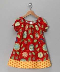 Take a look at this Red & Yellow Border Dress - Toddler & Girls by Moo Boo's on #zulily today!