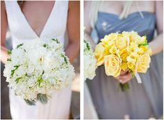 The bride carried a white bouquet while her bridesmaids carried bright yellow flowers.