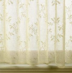 """Detail of a """"Trellis"""" Lace Cafe which is available in a Lace Valance and Lace Panels 63 and 84 inch in length.  The Valance is $23.95."""