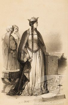 """*Wife of Wm the Conqueror.    Matilda of Flanders """"This nineteenth-century engraving showing her wearing a mantle of the type she wore for her wedding"""" 30th GGrandmother"""