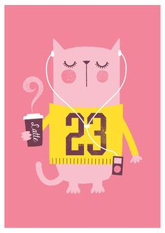 Set of 4 cat prints girls nursery print cute by BubbleGumYears
