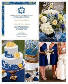 yellow flowers, color schemes, cobalt blue, cake decorations, royal blue, blue weddings, blue bridesmaid dresses, summer weddings, blues