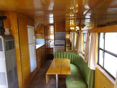 How do you like this green leather sofa in a vintage camper trailer? :-)