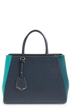 Fendi Medium 2Jours Tricolor Leather Shopper