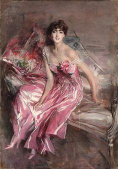GIOVANNI BOLDINI 1842-1931 Signora in rosa