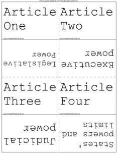 Match the articles of the Constitution with the subjects they address. Free to download and print