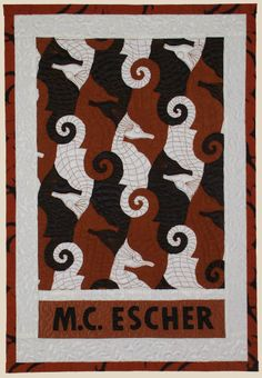"""Escher's Seahorses"" by Jean Baardsen at Uncommon Cloth simpl quilt, quilt idear, escher seahors, seahorses, art, tessel quilt, jeans, awesom quilt, appliqu"