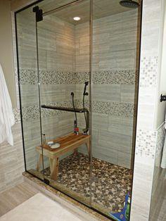 Moon Mosaic Pebble Tile Shower Pan
