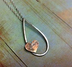 Mixed Metal Jewelry Suspended Love no 25 Copper Hammered by Arrok