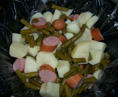 Simple and Healthy Crockpot Meal  8-10 potatoes, peeled and cut into pieces 2 (14.5 oz) cans green beans 13 oz Polska Kielbasa (cut into pieces) 1 (12 oz) can of lite beer Directions: Place liner in crock pot. Add first three ingredients then pour in beer. Cook 3-5 hours high.