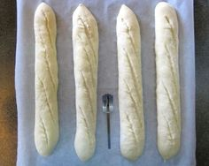 Baguettes, slashed and ready for the oven.