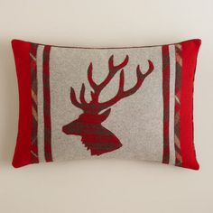 Stag's Head Boiled Wool Throw Pillow