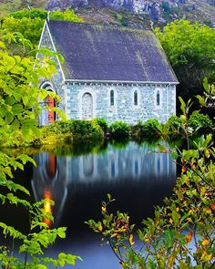 ^Church on Gougane Barra Lake, Ireland
