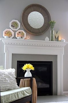 mirror, wall colors, living rooms, fireplace surrounds, fireplace mantels, live room, mantl, electric fireplaces, gray paint