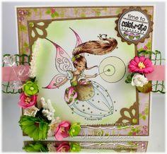 Whimsy Stamps card by Iris Wiechmann using Elisabeth Bells SugarPlum Fairy, Rain Drop Echo Designs party Mini Letter Seals & Corner Dies set, Michele Roos Designs Merry & Bright papers
