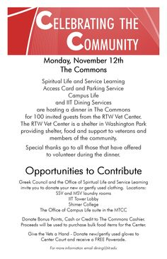 #IIT helps support vets with shelter and food- Dinner in The Commons http://www.iit.edu/news/iittoday/?p=9217