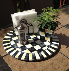 """Hand Painted 15"""" Black and White Checked Lazy Susan"""