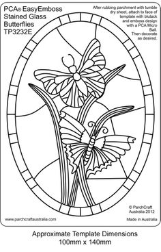 PCA EASY EMBOSSING TEMPLATE - STAINED GLASS BUTTERFLIES    This template depicts butterflies in a RECTANGULAR frame. The Stained Glass style templates are ideal for projects such as birthdays, thank you, invitation, get well, sympathy etc or just as a little project to pop into a small frame and grace your dresser.