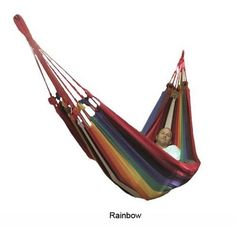 "96"" W x 60"" D 2 Person Outdoor Patio Hammock Cotton Blue/Green or Rainbow New"
