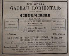 Lorient. Publicité Crucer, spécialité du gateau lorientais. 1882.