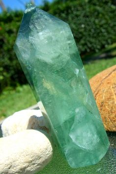 Large Polished Standing Ocean Green Fluorite Point by hibiscusmoon, $97.00